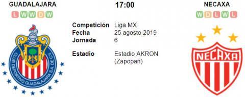 Chivas de Guadalajara vs Necaxa en VIVO Online 25 de Agosto Liga MX 2019