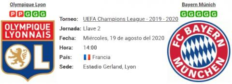Resultado Olympique Lyon 0 - 3 Bayern Múnich 19 de Agosto UEFA Champions League 2020
