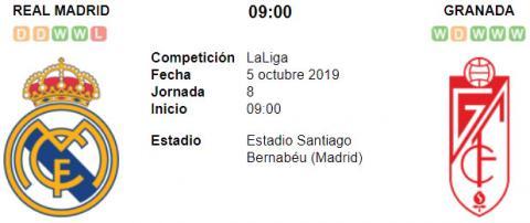 Resultado Real Madrid 4 - 2 Granada 05 de Octubre LaLiga Santander 2019