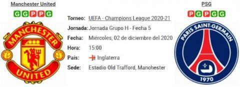 Resultado Manchester United 1 - 3 PSG 02 de Diciembre UEFA Champions League 2020