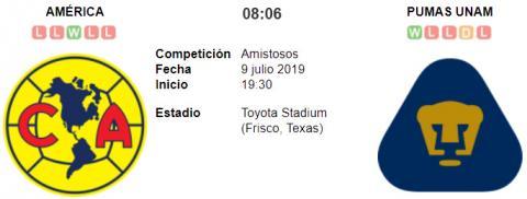Resultado América 0 - 2 Pumas UNAM 09 de Julio Amis...