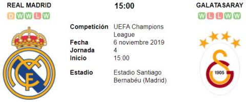 Resultado Real Madrid 6 - 0 Galatasaray 06 de Noviembre UEFA Champions League 2019