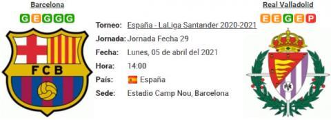 Resultado Barcelona 1 - 0 Real Valladolid 05 de Abril LaLiga Santander 2021