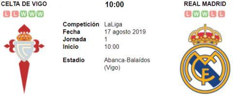 Resultado Celta de Vigo 1 - 3 Real Madrid 17 de Agosto LaLiga Santander 2019