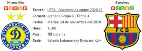 Resultado Dinamo Kiev 0 - 4 Barcelona 24 de Noviembr...