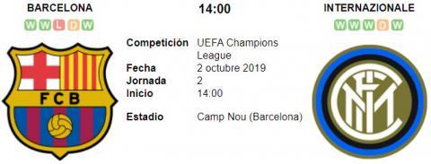 Resultado Barcelona 2 - 1 Inter de Milán 02 de Octubre UEFA Champions League 2019