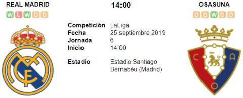 Resultado Real Madrid 2 - 0 Osasuna 25 de Septiembre LaLiga Santander 2019