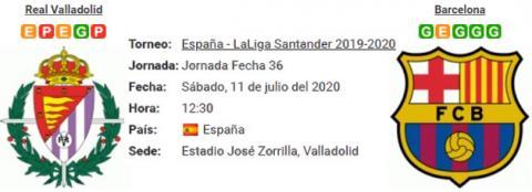 Resultado Real Valladolid 0 - 1 Barcelona 11 de Julio LaLiga Santander 2020