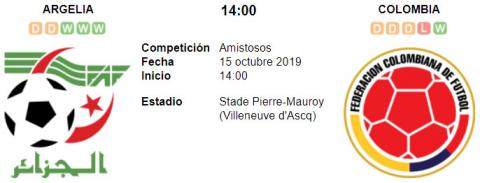 Resultado Argelia 3 - 0 Colombia 15 de Octubre Amist...