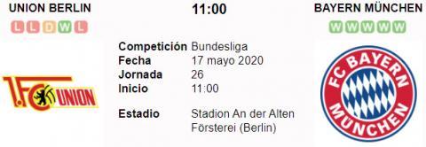 Resultado Unión Berlin 0 - 2 Bayern Múnich 17 de Mayo Bundesliga 2020