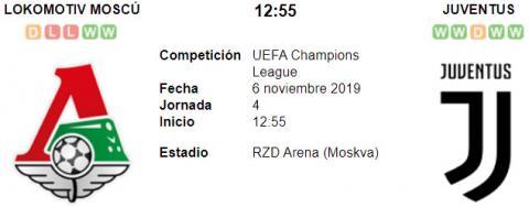Resultado Lokomotiv Moscú 1 - 2 Juventus 06 de Noviembre UEFA Champions League 2019