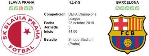 Resultado Slavia Praga 1 - 2 Barcelona 23 de Octubre UEFA Champions League 2019