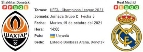 Resultado Shakhtar Donetsk 0 - 5 Real Madrid 19 de O...