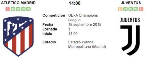 Resultado Atlético de Madrid 2 - 2 Juventus 18 de Septiembre UEFA Champions League 2019