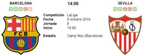 Resultado Barcelona 4 - 0 Sevilla 06 de Octubre LaLiga Santander 2019