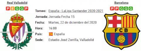 Resultado Real Valladolid 0 - 3 Barcelona 22 de Diciembre LaLiga Santander 2020