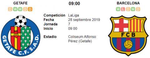 Resultado Getafe 0 - 2 Barcelona 28 de Septiembre LaLiga Santander 2019