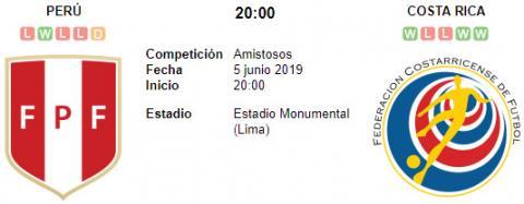 Resultado Perú 1 - 0 Costa Rica 05 de Junio Amistoso Internacional 2019