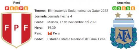 Resultado Perú 0 - 2 Argentina 17 de Noviembre Eliminatorias Mundial Qatar 2022