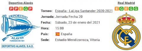 Resultado Alavés 1 - 4 Real Madrid 23 de Enero LaLiga Santander 2021
