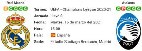 Resultado Real Madrid 3 - 1 Atalanta 16 de Marzo UEFA Champions League 2021