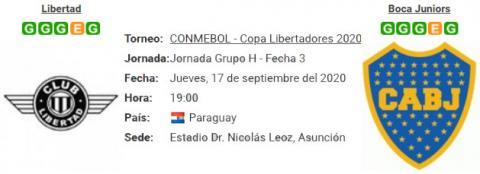 Resultado Libertad 0 - 2 Boca Juniors 17 de Septiembre Copa Libertadores 2020