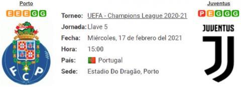 Resultado Porto 2 - 1 Juventus 17 de Febrero UEFA Champions League 2021