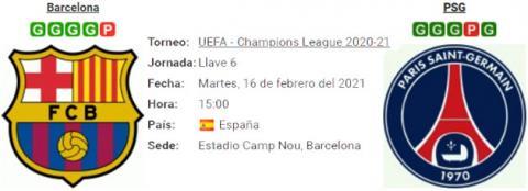 Resultado Barcelona 1 - 4 PSG 16 de Febrero UEFA Champions League 2021