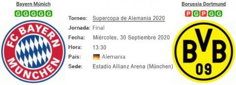 Resultado Bayern Múnich 3 - 2 Borussia Dortmund 30 de Septiembre FINAL Supercopa Alemana 2020