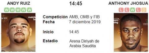 Resultado Andy Ruiz 111 - 117 Anthony Joshua 07 de Diciembre Título de la WBA, IBF y WBO 2019