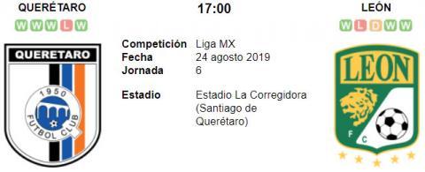 Resultado Querétaro 0 - 4 León 24 de Agosto Liga MX 2019