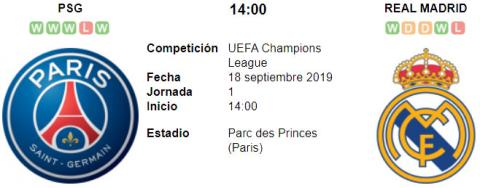 Resultado PSG 3 - 0 Real Madrid 18 de Septiembre UEFA Champions League 2019