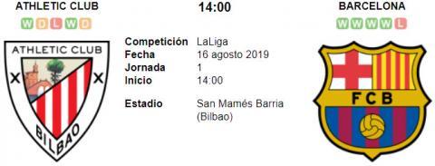 Resultado Athletic Bilbao 1 - 0 Barcelona 16 de Agosto LaLiga Santander 2019