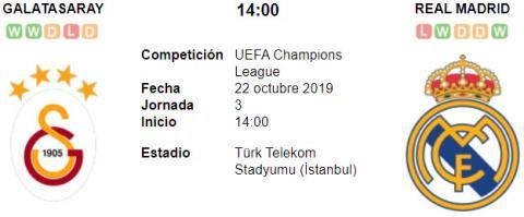 Resultado Galatasaray 0 - 1 Real Madrid 22 de Octubre UEFA Champions League 2019