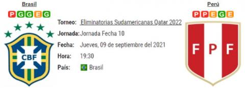 Resultado Brasil 2 - 0 Perú 09 de Septiembre Eliminatorias Mundial Qatar 2022