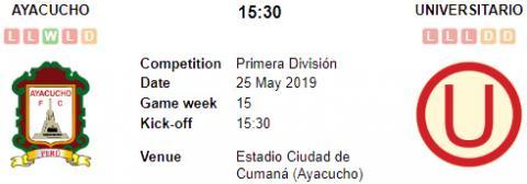 Resultado Ayacucho 2 - 0 Universitario 25 de Mayo Liga 1 2019