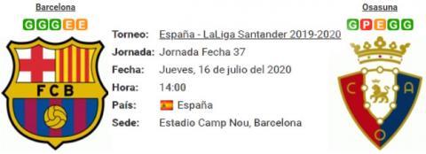 Resultado Barcelona 1 - 2 Osasuna 16 de Julio LaLiga...