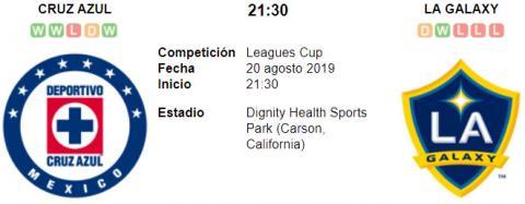 Resultado Cruz Azul 2 - 1 Los Angeles Galaxy 20 de Agosto Leagues Cup 2019