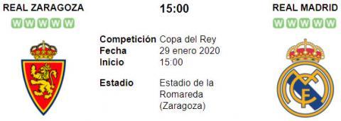 Resultado Real Zaragoza 0 - 4 Real Madrid 29 de Enero Copa del Rey 2020