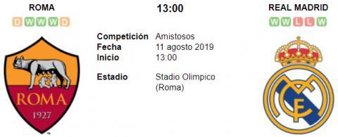 Resultado Roma 3 - 2 Real Madrid 11 de Agosto Amistoso Internacional 2019