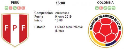 Resultado Perú 0 - 3 Colombia 09 de Junio Amistoso Internacional 2019