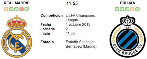 Resultado Real Madrid 2 - 2 Club Brujas 01 de Octubre UEFA Champions League 2019