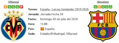 Resultado Villarreal 1 - 4 Barcelona 05 de Julio LaLiga Santander 2020
