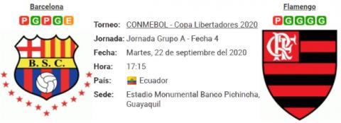 Resultado Barcelona SC 1 - 2 Flamengo 22 de Septiembre Copa Libertadores 2020