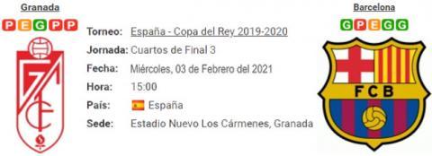 Resultado Granada 3 - 5 Barcelona 03 de Febrero Copa del Rey 2021