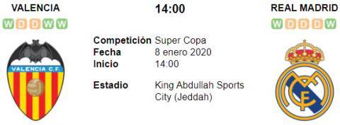 Resultado Valencia 1 - 3 Real Madrid 08 de Enero Sup...