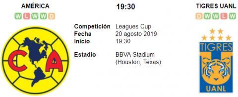 Resultado América 2 - 3 Tigres UANL 20 de Agosto Leagues Cup 2019