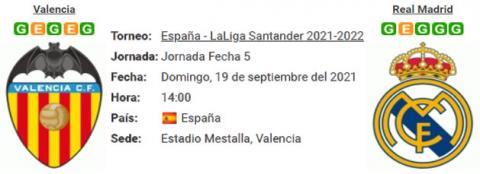 Resultado Valencia 1 - 2 Real Madrid 19 de Septiembre LaLiga Santander 2021