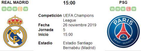 Resultado Real Madrid 2 - 2 PSG 26 de Noviembre UEFA Champions League 2019