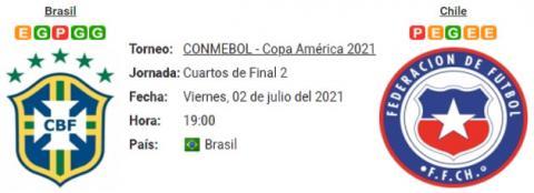 Resultado Brasil 1 - 0 Chile 02 de Julio Copa América 2021